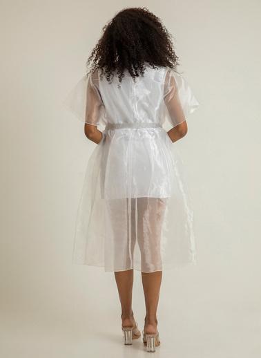 Foremia Kemeri Taşlı Tül Elbise 4106 Beyaz